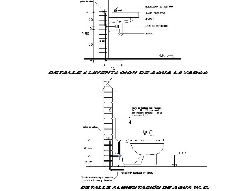 Water Closet Detail In DWG File
