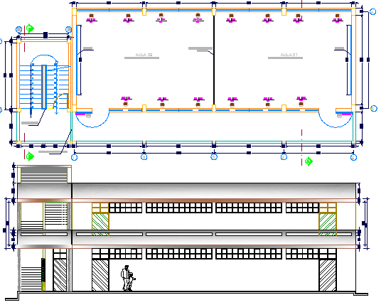 Primary school dwg file, Design Elevation and Structure Details dwg file