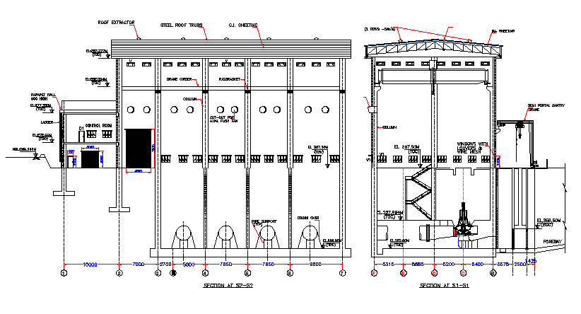Pump House Design and Architecture Elevation dwg file