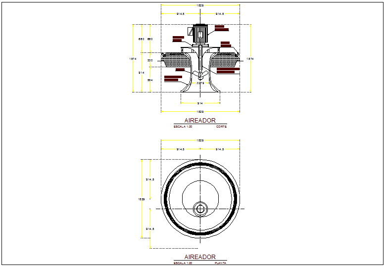 Pumping  aerator plan and elevation view dwg file