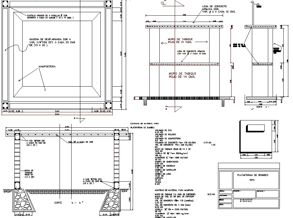 Pumping platform plan detail dwg file