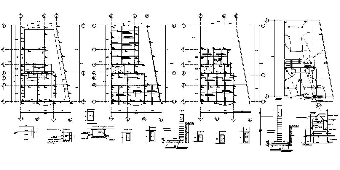 RCC Structure Design 2d CAD Drawing