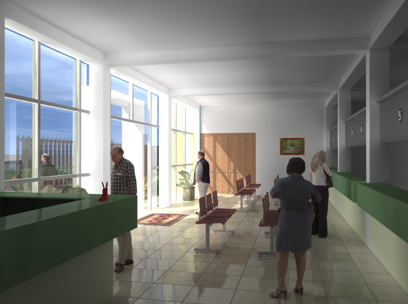 Reception area of hotel 3d details