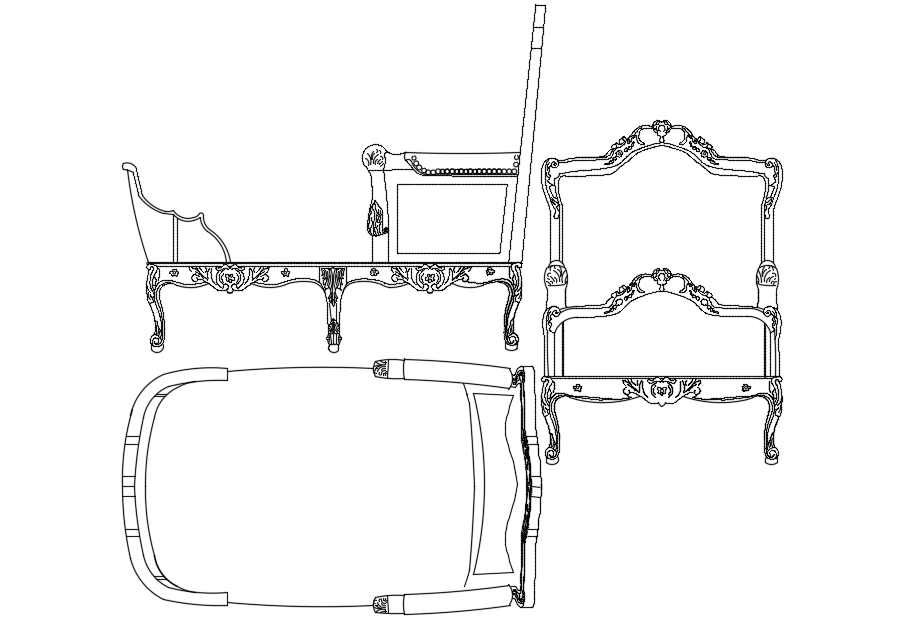 Recliner with chair with furniture view dwg file