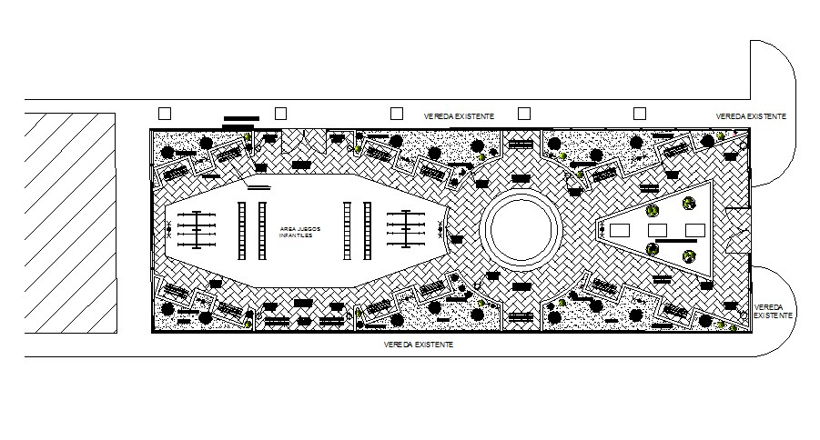 Recreational park distribution plan cad drawing details dwg file