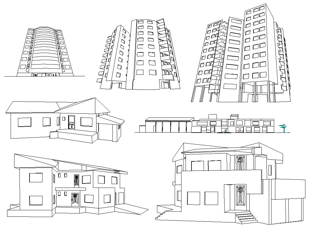 Residence Elevation design dwg file
