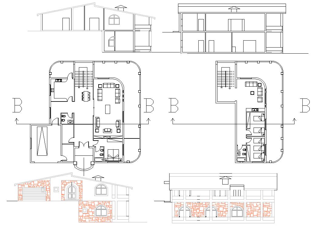 Residence House plan dwg file
