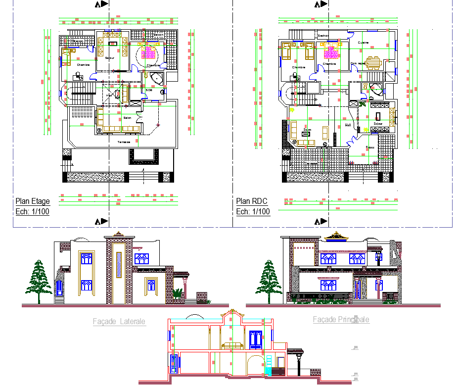 Residence Project detail view dwg file
