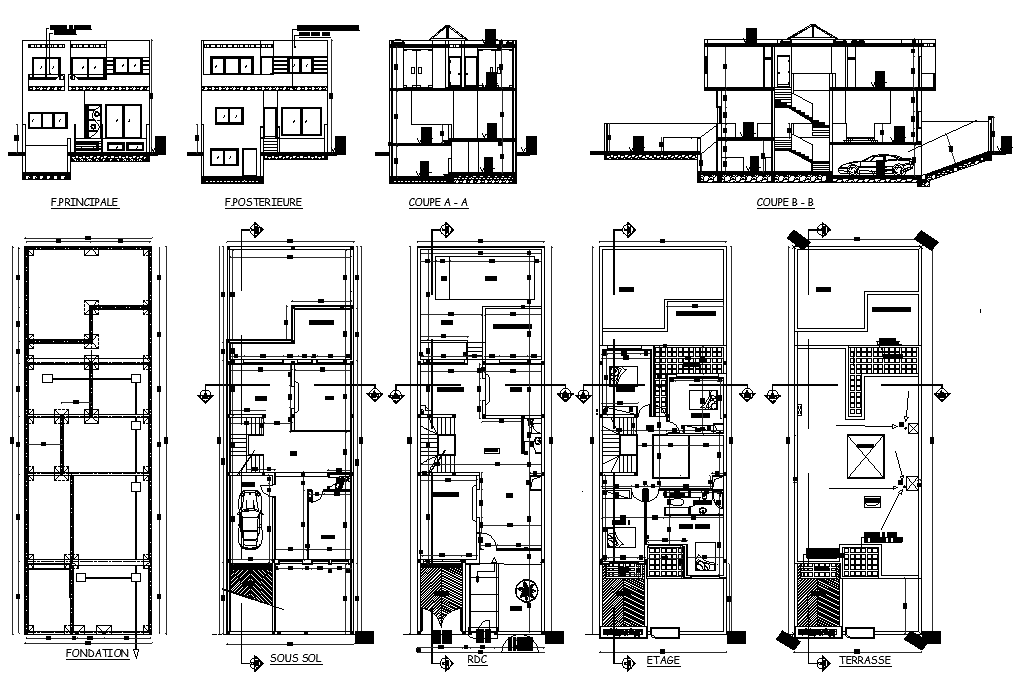 Residence Villa project detail dwg file