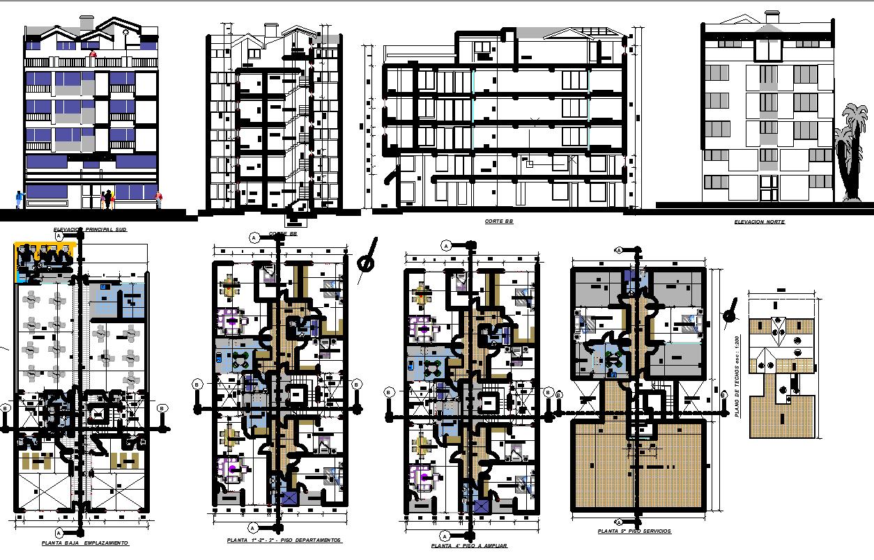Residence with Ground Floor Restaurant plan dwg file