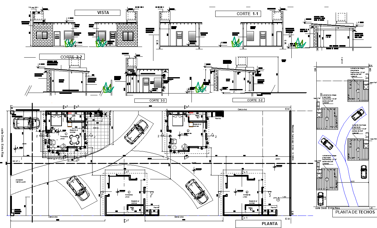 Residences Layout plan with elevation design dwg file