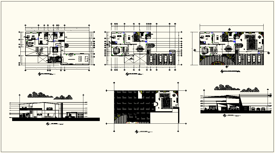 Resident house plan and set plan view with sectional elevation view dwg file