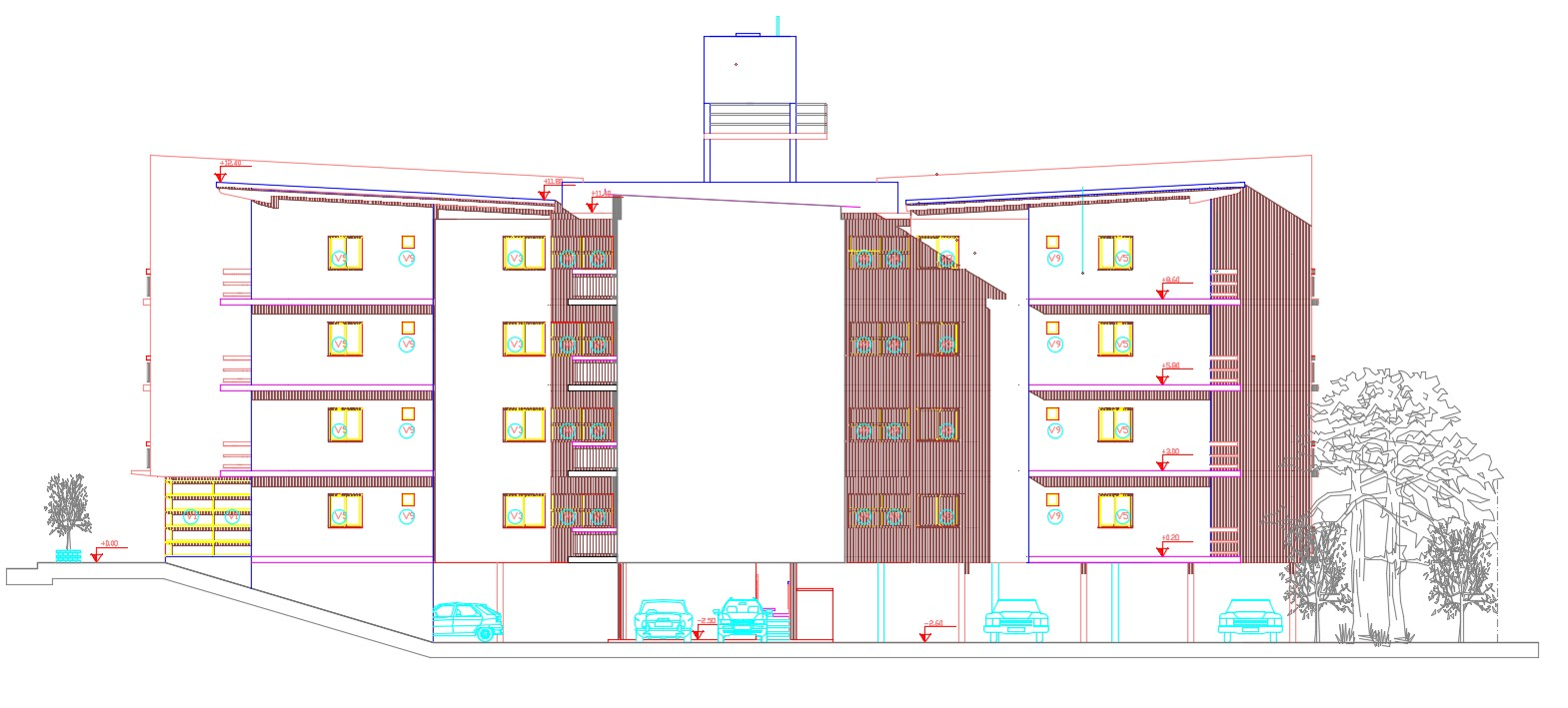 Residential Apartment Elevation CAD Drawing