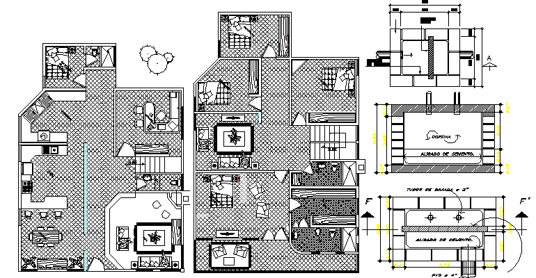 Residential Bungalow Architecture Design and Structure Details dwg file