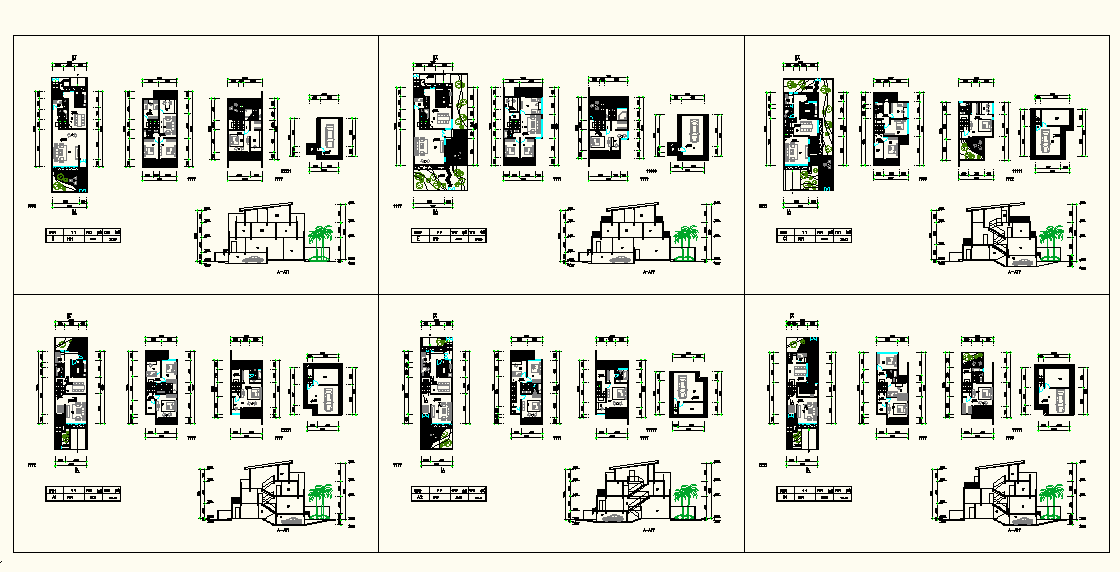 Residential House Plan & Elevation & Section