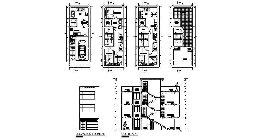 Residential apartment 4.00mtr x 12.00mtr with detail dimension in AutoCAD
