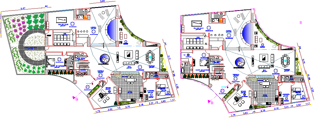 Residential apartment building floor plan details dwg file