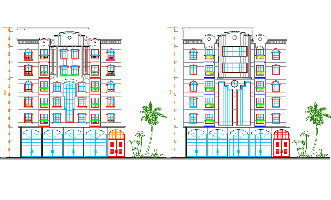 Residential apartment elevation view dwg file