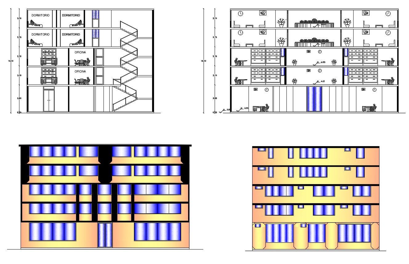 Residential apartment elevations in dwg file - Cadbull