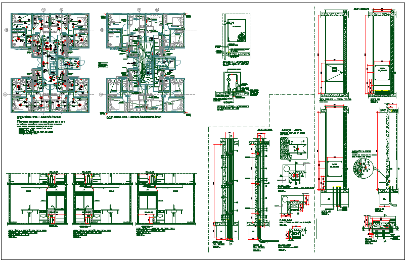 Residential apartment flat floor plan detail view dwg file
