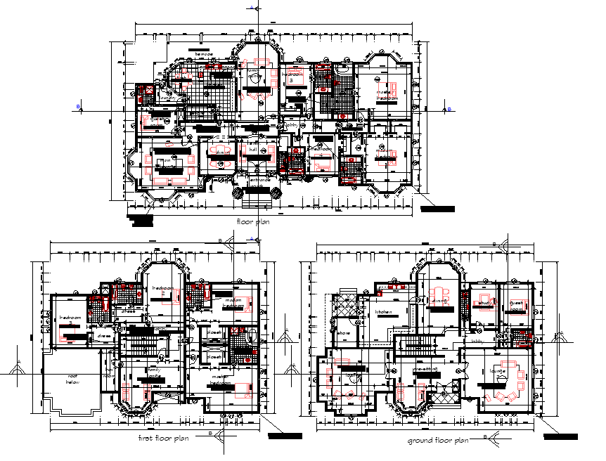 Residential building home planning detail dwg file