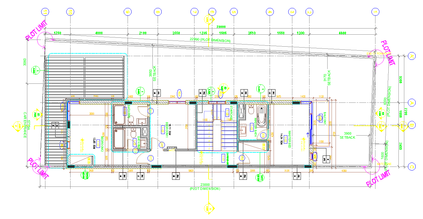 Residential building plan detail view dwg file