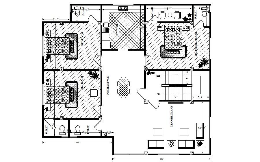 Residential House Design In DWG File