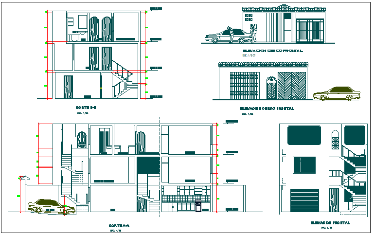 Residential house elevation section plan detail dwg file