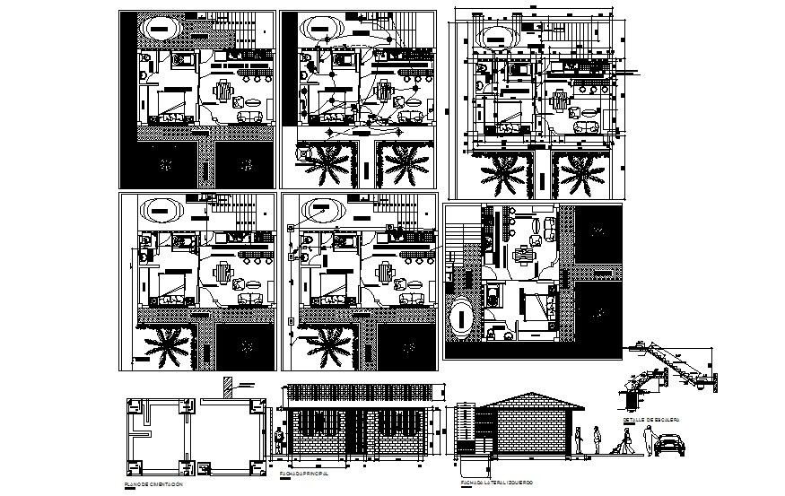 Residential house plan 10.00mtr x 11.23mttr with furniture details in dwg file