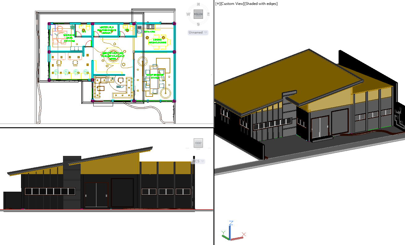 Residential house plan detail and 3d view detail dwg file