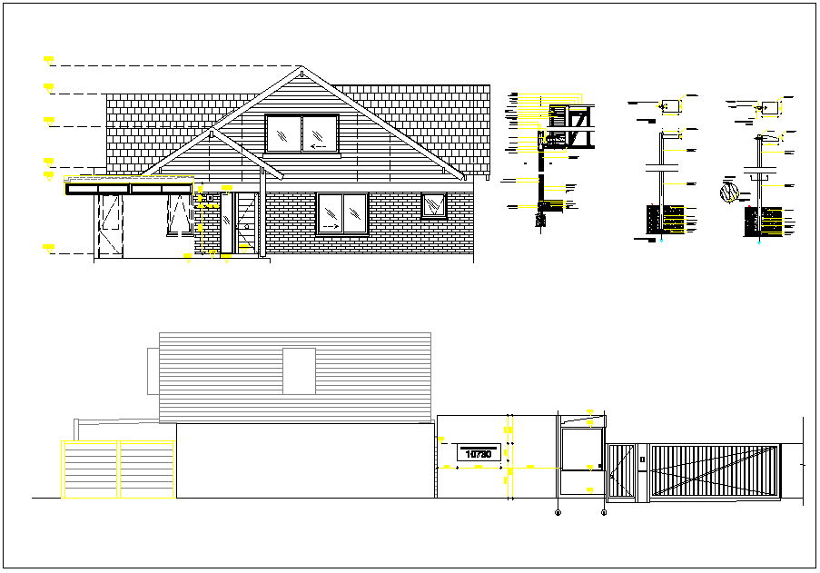 Residential house plan elevation and plan dwg file