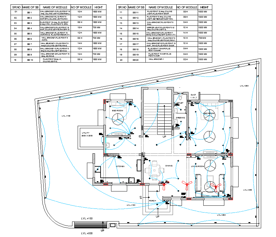 Residential house plan view detail, electrical plan layout dwg file