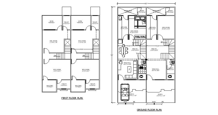 Residential house with detail dimension in autocad