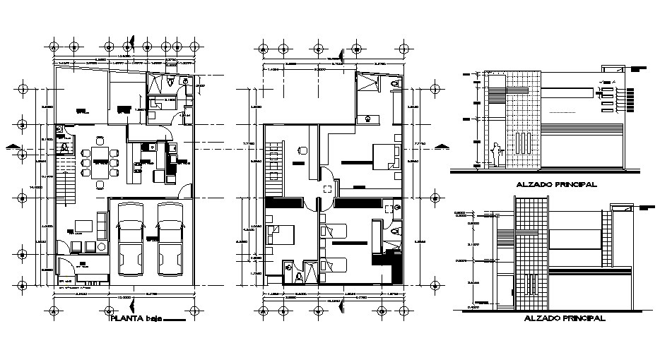 Residential house with furniture details in autocad