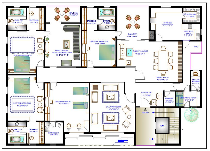 Residential housing plan view dwg file