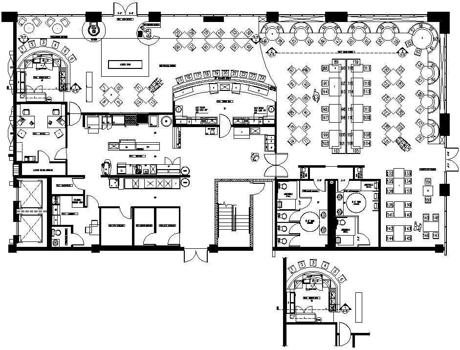 Restaurant Floor Plan DWG File - Cadbull