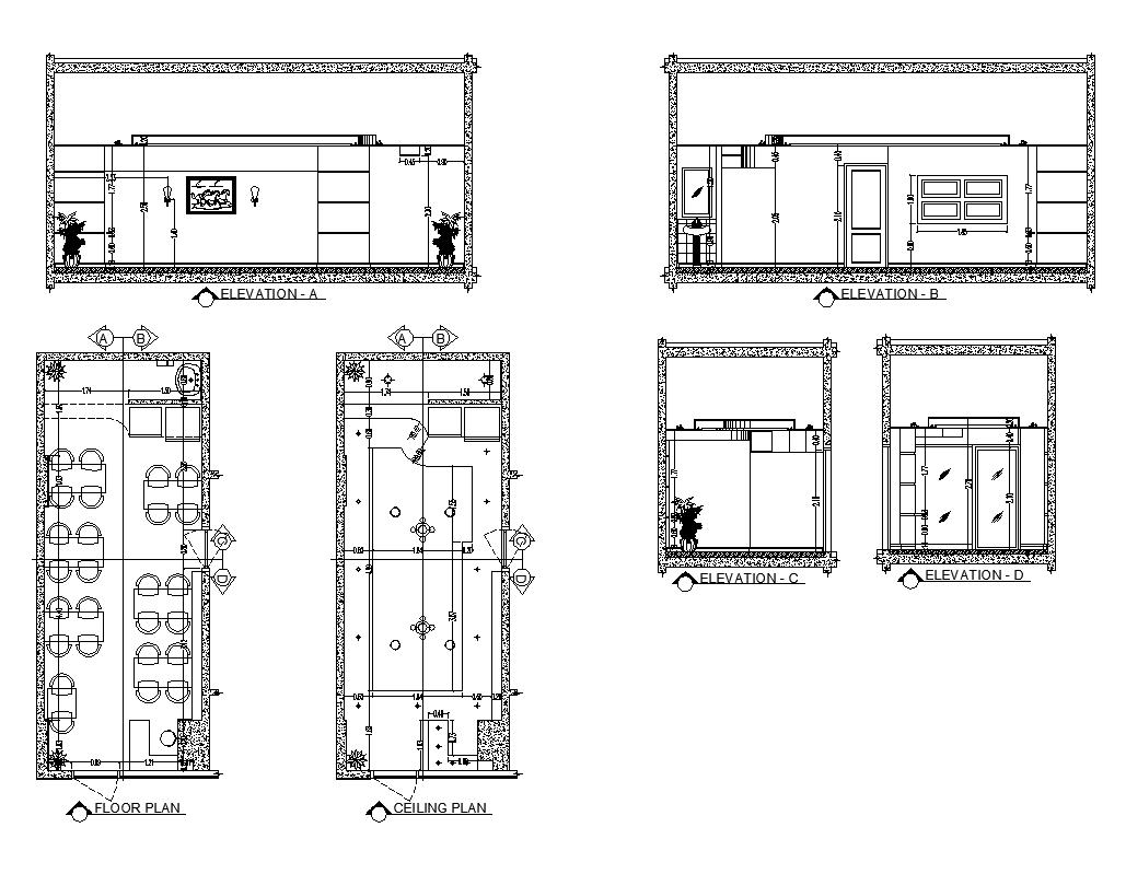 Restaurant building floor plan detail
