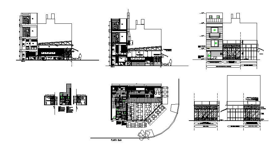 Restaurant in apartment complex building detailed architecture project dwg file
