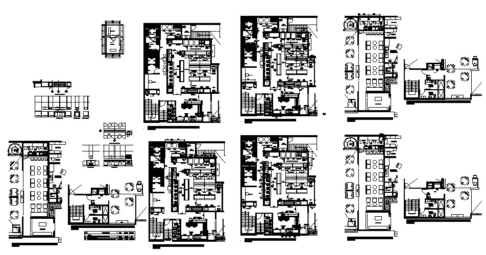 Restaurant layout plan details with kitchen and bar dwg file