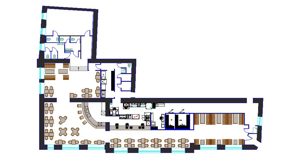 Restaurant layout plan dwg file - Cadbull