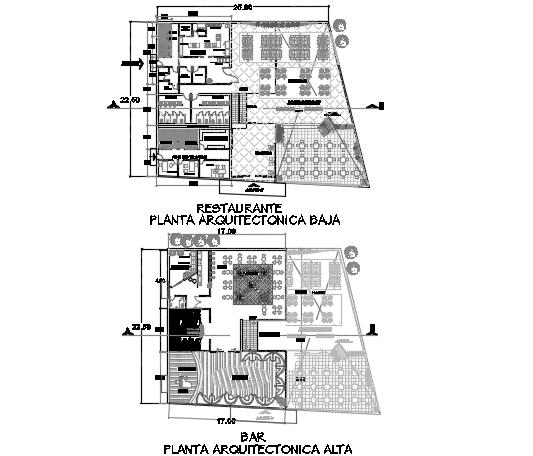 Restaurant plan detail dwg file