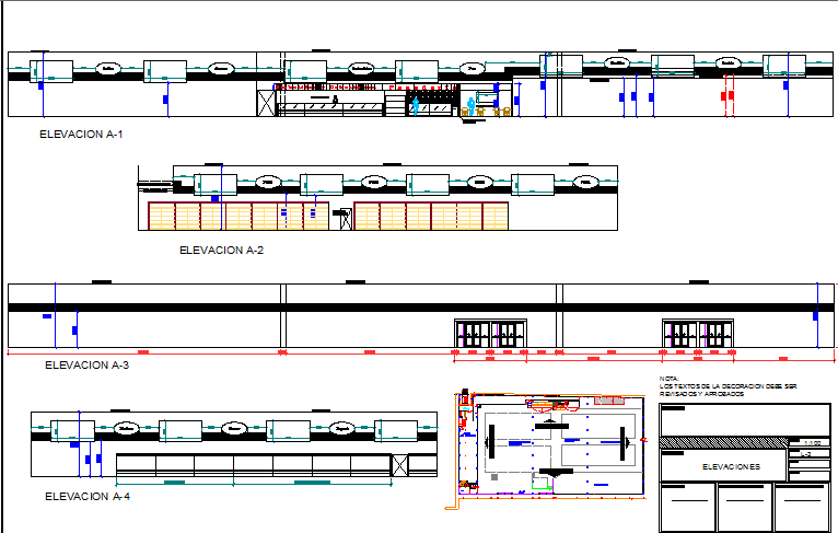 Retail market all sided elevation view details dwg file