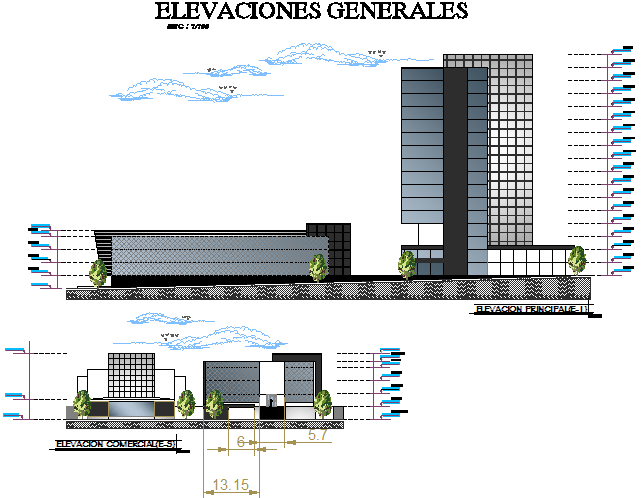 Right elevation and back elevation shopping office complex detail dwg file