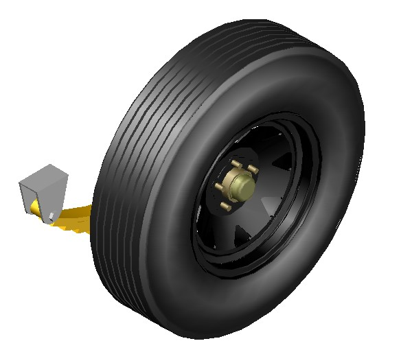 Rim detail and pneumatic with package of springs and padlock 3d for haulage car.
