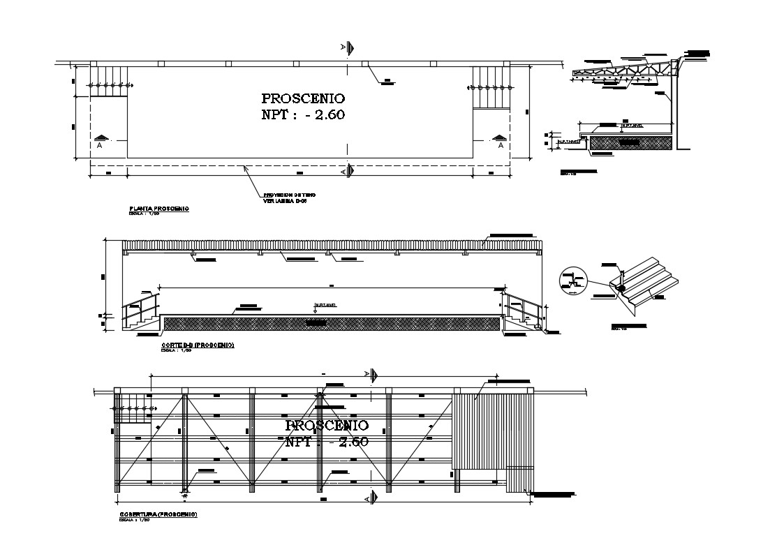 Roof coverage structure and construction details with procesino cad drawing details dwg file