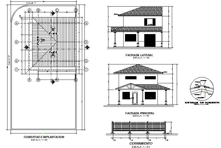 Roof plan, elevation and section house detail dwg file