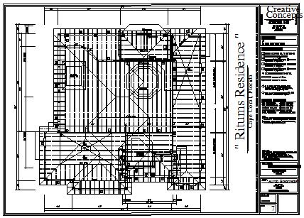 Roof plan design drawing of housing design