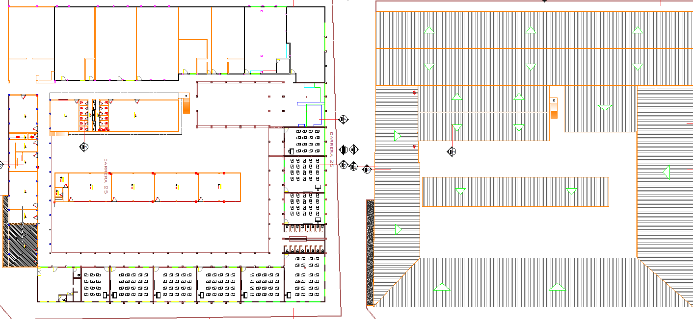 Roof plan detail and ground floor detail dwg file