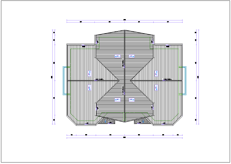 Roof plan of duplex with architectural view dwg file