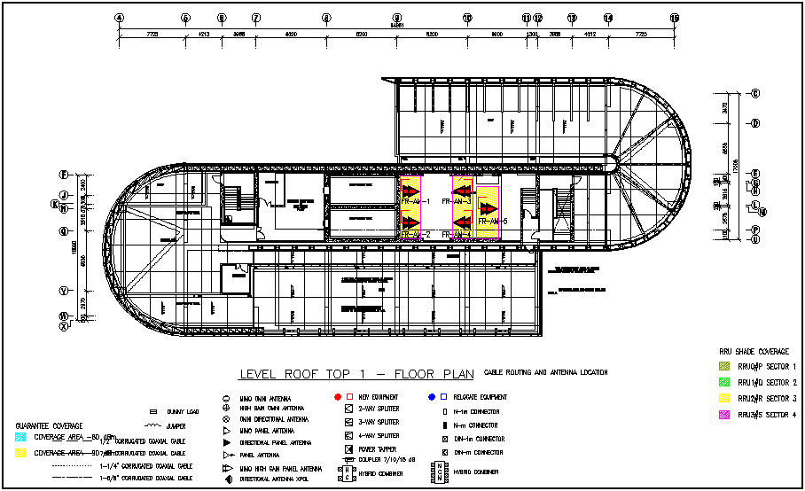 Roof plan of hotel with electrical view dwg file